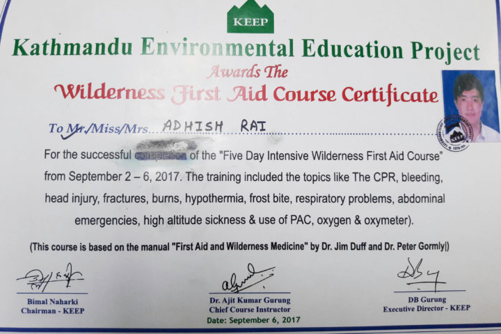 Adhish First Aid Certificate