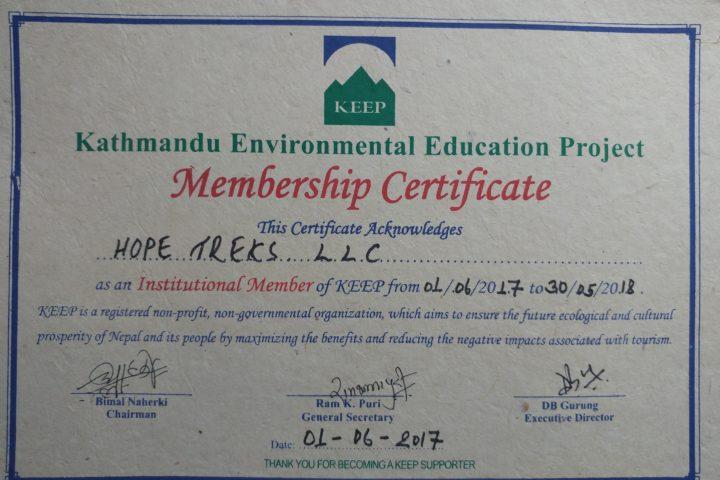 KEEP Certificate