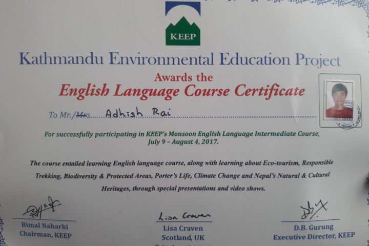 Adhish English Certification
