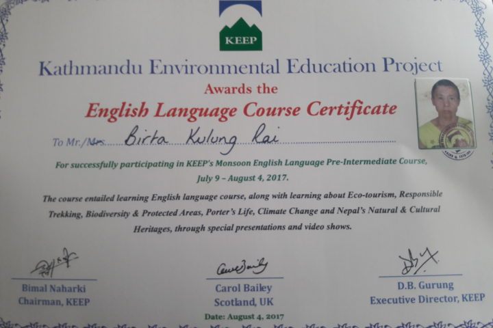Birta English Certification